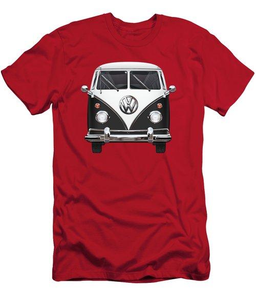 Volkswagen Type 2 - Black And White Volkswagen T 1 Samba Bus On Red  Men's T-Shirt (Slim Fit) by Serge Averbukh