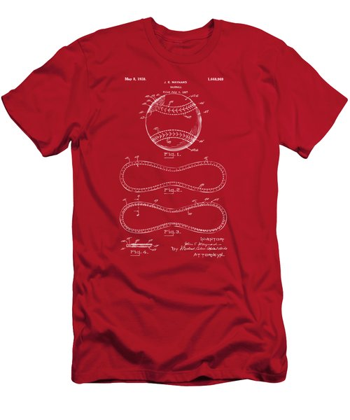 1928 Baseball Patent Artwork Red Men's T-Shirt (Slim Fit) by Nikki Marie Smith