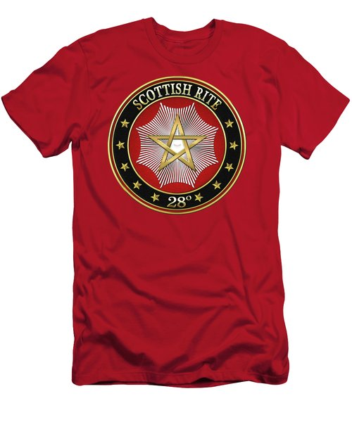 28th Degree - Knight Commander Of The Temple Jewel On Red Leather Men's T-Shirt (Slim Fit) by Serge Averbukh