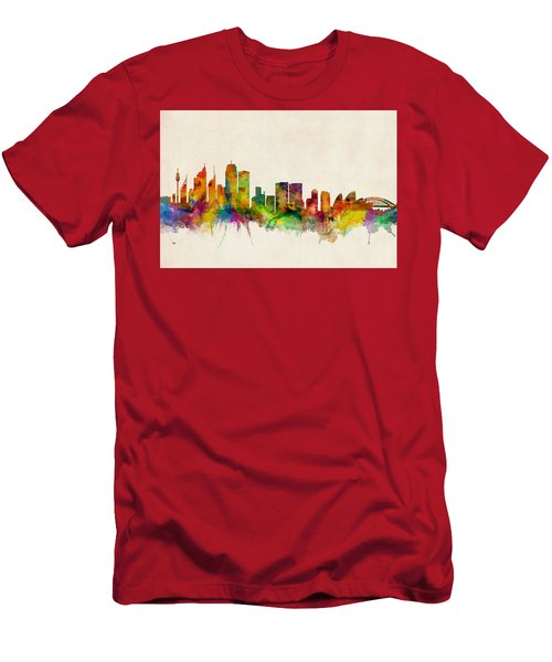 Sydney Australia Skyline Men's T-Shirt (Slim Fit) by Michael Tompsett