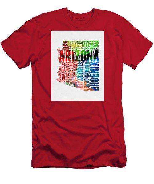 Arizona Watercolor Word Cloud Map  Men's T-Shirt (Slim Fit) by Naxart Studio