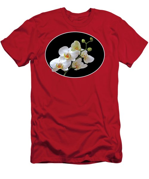 Orchids On Black And Red Men's T-Shirt (Slim Fit) by Gill Billington