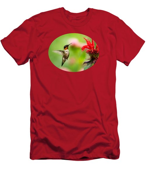 Male Ruby-throated Hummingbird Hovering Near Flowers Men's T-Shirt (Slim Fit) by Christina Rollo