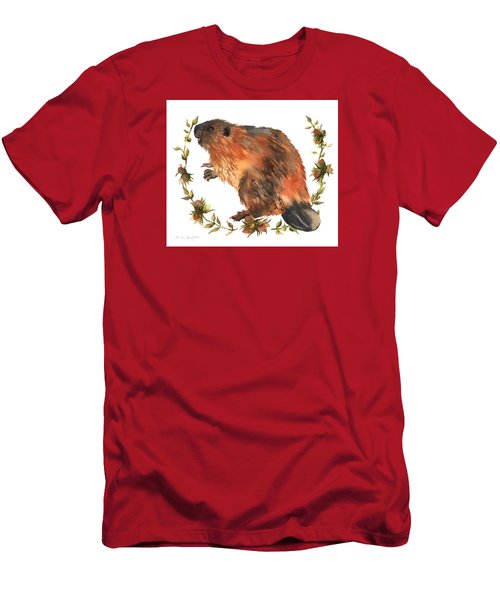 Beaver Painting Men's T-Shirt (Slim Fit) by Alison Fennell