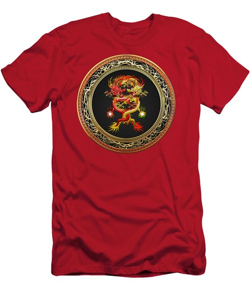 Brotherhood Of The Snake - The Red And The Yellow Dragons On Red Velvet Men's T-Shirt (Slim Fit) by Serge Averbukh