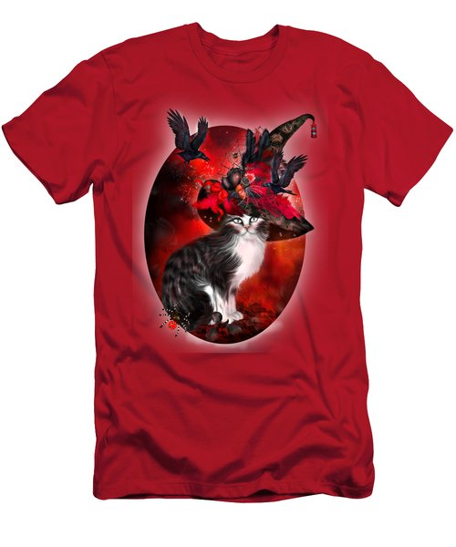 Cat In Fancy Witch Hat 1 Men's T-Shirt (Slim Fit) by Carol Cavalaris