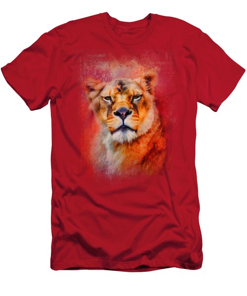 Colorful Expressions Lioness Men's T-Shirt (Slim Fit) by Jai Johnson