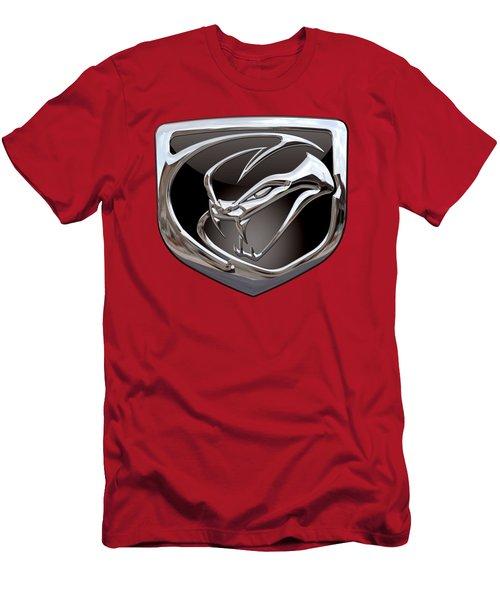 Dodge Viper - 3d Badge On Red Men's T-Shirt (Slim Fit) by Serge Averbukh