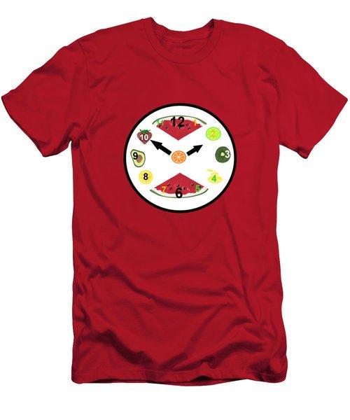 Food Clock Men's T-Shirt (Slim Fit) by Kathleen Sartoris
