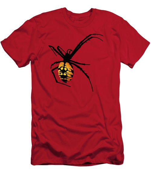 Graphic Spider Black And Yellow Orange Men's T-Shirt (Slim Fit) by MM Anderson