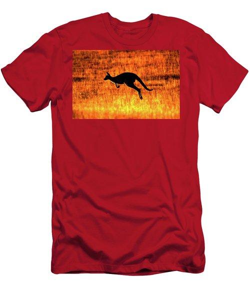 Kangaroo Sunset Men's T-Shirt (Slim Fit) by Bruce J Robinson