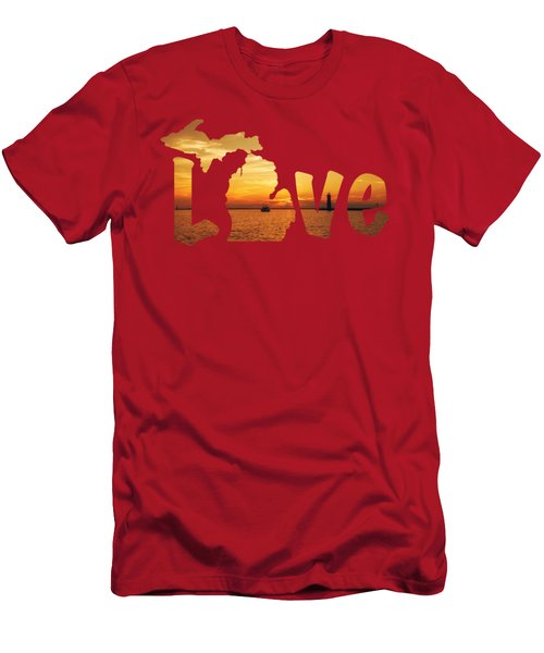 Love Lake Michigan Men's T-Shirt (Slim Fit) by Emily Kay