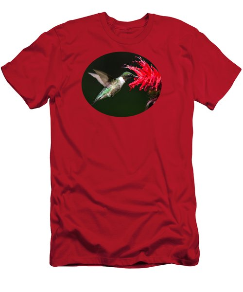 Male Ruby-throated Hummingbird With Red Flower Men's T-Shirt (Slim Fit) by Christina Rollo