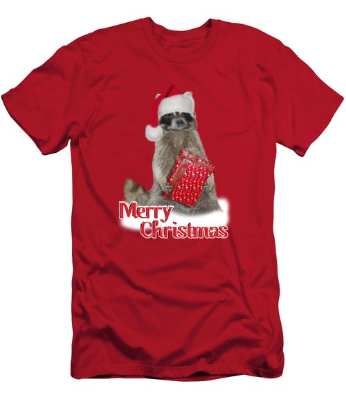 Merry Christmas -  Raccoon Men's T-Shirt (Slim Fit) by Gravityx9 Designs