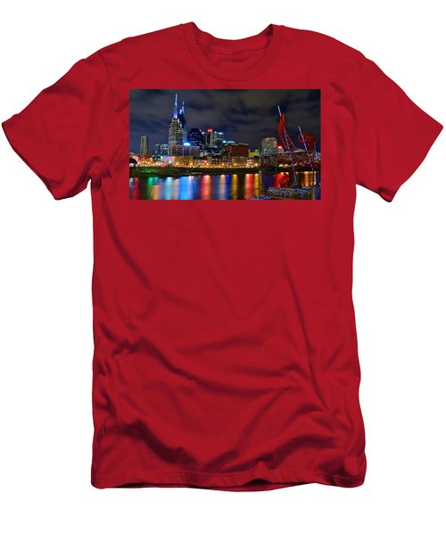 Nashville After Dark Men's T-Shirt (Slim Fit) by Frozen in Time Fine Art Photography