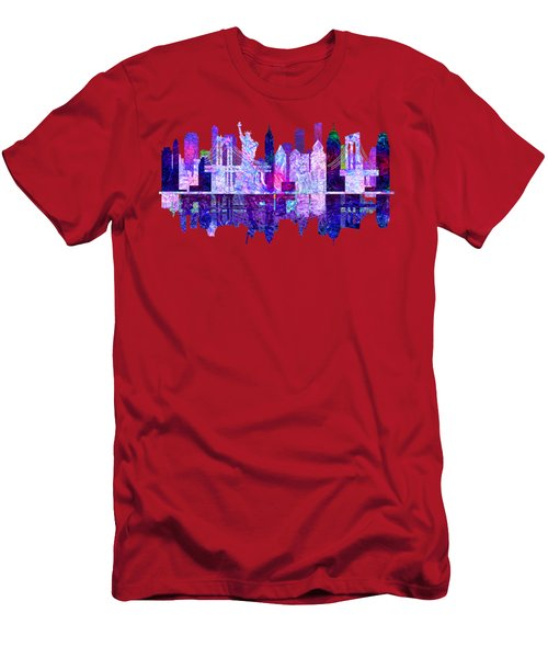 New York Skyline Red Men's T-Shirt (Slim Fit) by John Groves