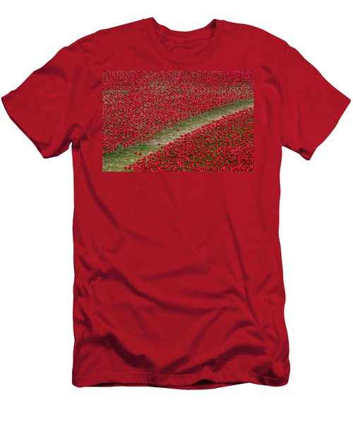 Poppies Of Remembrance Men's T-Shirt (Slim Fit) by Martin Newman
