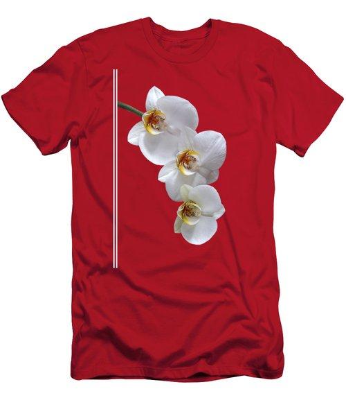 White Orchids On Terracotta Vdertical Men's T-Shirt (Slim Fit) by Gill Billington