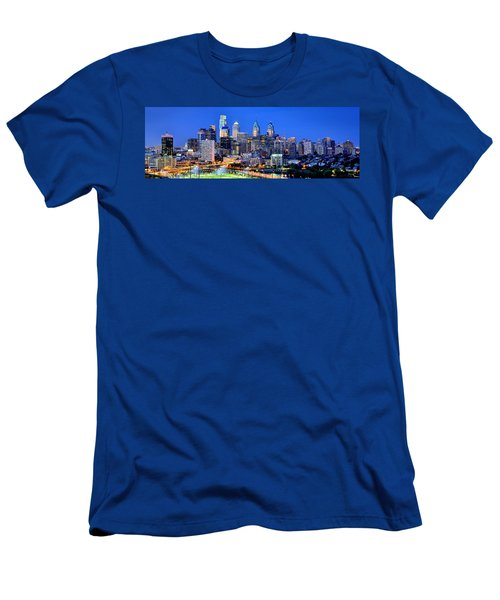 Philadelphia Skyline At Night Evening Panorama Men's T-Shirt (Slim Fit) by Jon Holiday