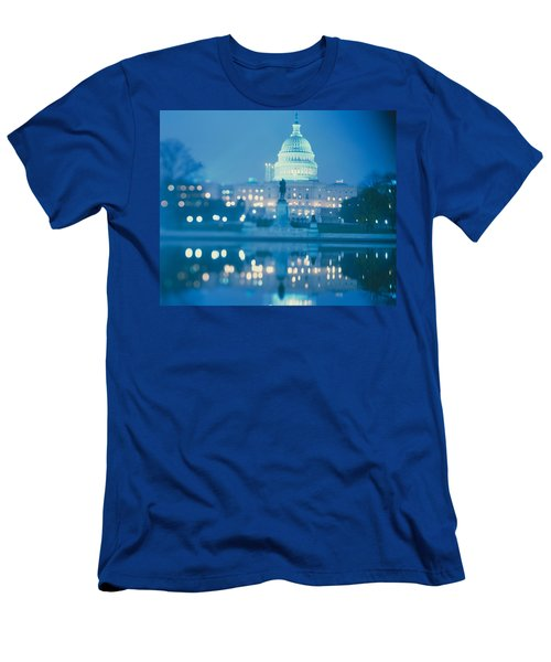 Government Building Lit Up At Night Men's T-Shirt (Slim Fit) by Panoramic Images