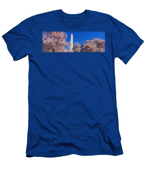 Cherry Blossoms Washington Monument Men's T-Shirt (Slim Fit) by Panoramic Images