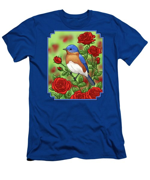 New York State Bluebird And Rose Men's T-Shirt (Slim Fit) by Crista Forest