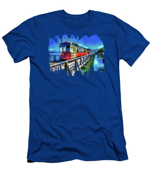 Astoria Riverfront Trolley Men's T-Shirt (Slim Fit) by Thom Zehrfeld