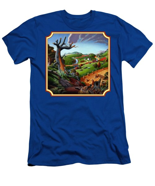 Autumn Wheat Harvest Country Farm Life Landscape - Square Format Men's T-Shirt (Slim Fit) by Walt Curlee