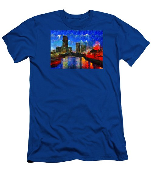 City Living - Tokyo - Skyline Men's T-Shirt (Slim Fit) by Sir Josef - Social Critic - ART