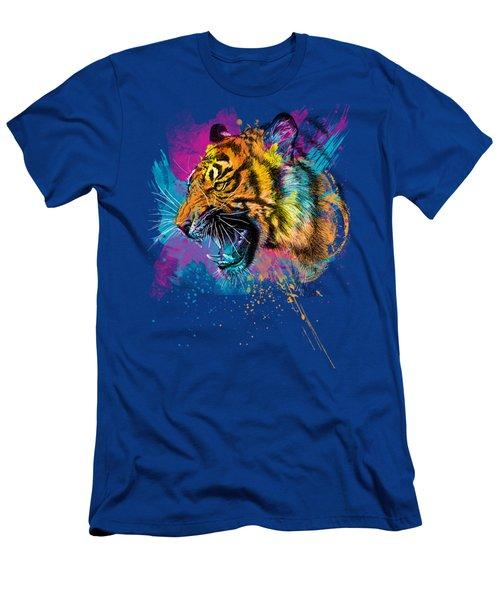 Crazy Tiger Men's T-Shirt (Slim Fit) by Olga Shvartsur