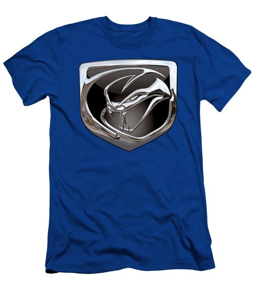 Dodge Viper 3 D  Badge Special Edition On Blue Men's T-Shirt (Slim Fit) by Serge Averbukh