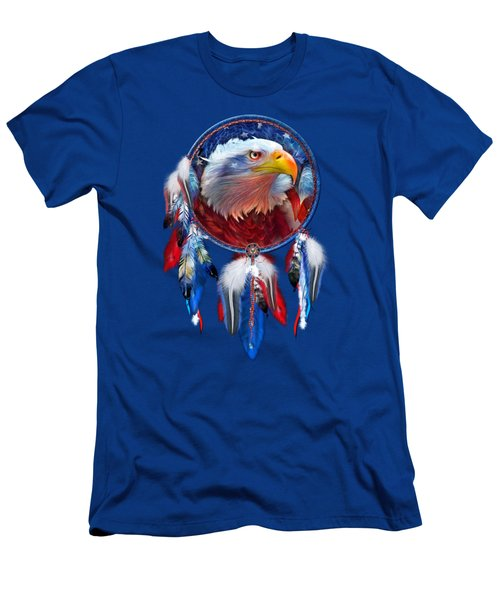 Dream Catcher - Eagle Red White Blue Men's T-Shirt (Slim Fit) by Carol Cavalaris