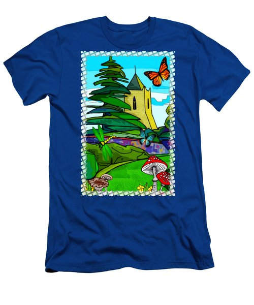 English Garden Whimsical Folk Art Men's T-Shirt (Slim Fit) by Sharon and Renee Lozen