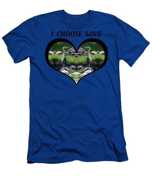 I Chose Love With A Heart Framing Blue Herons Men's T-Shirt (Slim Fit) by Julia L Wright