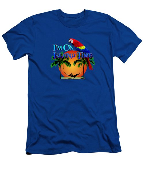 Island Time And Parrot Men's T-Shirt (Slim Fit) by Chris MacDonald