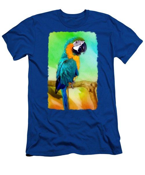 Maya - Macaw Parrot  Men's T-Shirt (Slim Fit) by Linda Koelbel