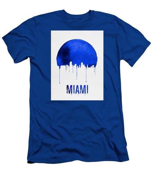 Miami Skyline Blue Men's T-Shirt (Slim Fit) by Naxart Studio