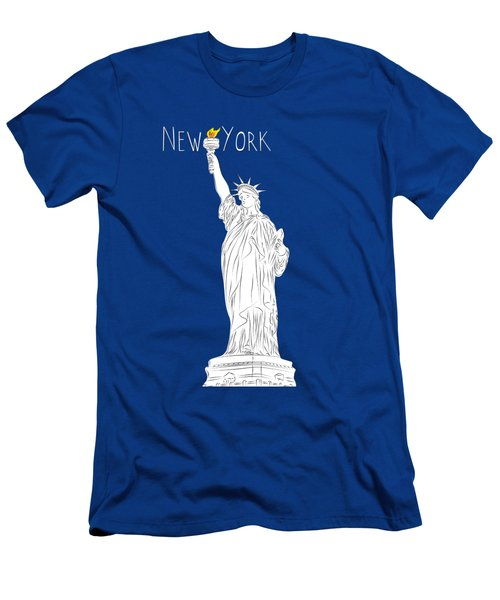 Ny Statue Of Liberty Line Art Men's T-Shirt (Slim Fit) by Bekare Creative