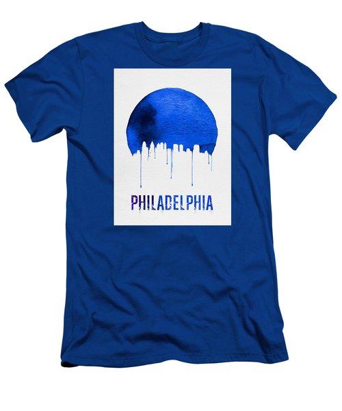 Philadelphia Skyline Blue Men's T-Shirt (Slim Fit) by Naxart Studio