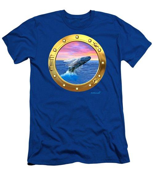 Porthole View Of Breaching Whale Men's T-Shirt (Slim Fit) by Glenn Holbrook