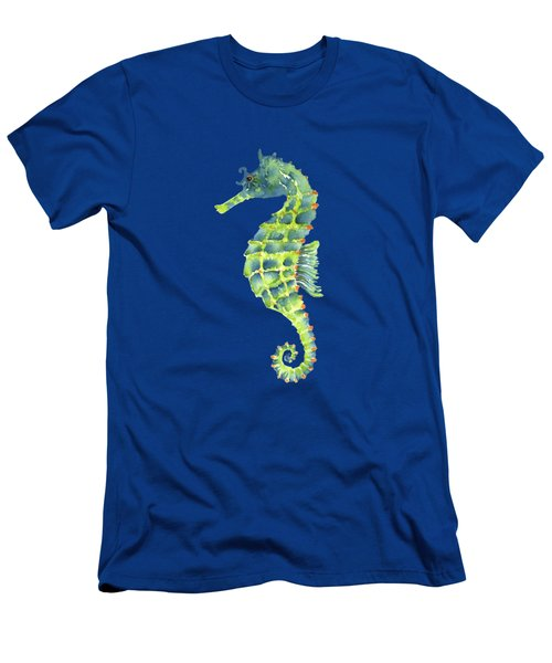 Teal Green Seahorse - Square Men's T-Shirt (Slim Fit) by Amy Kirkpatrick