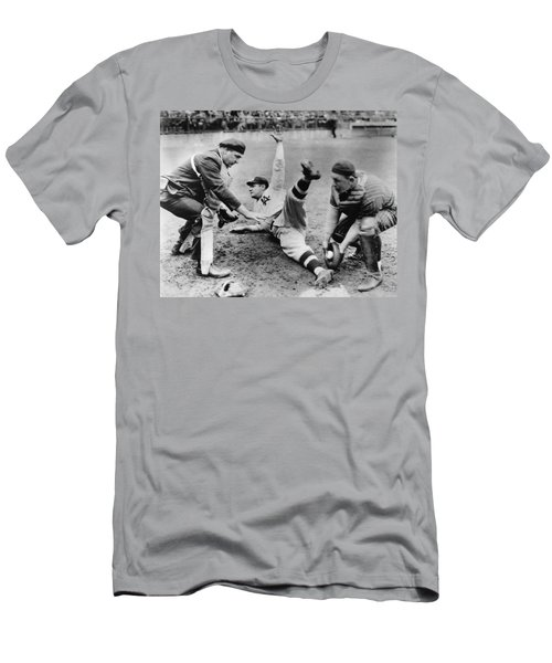 Babe Ruth Slides Home Men's T-Shirt (Slim Fit) by Underwood Archives