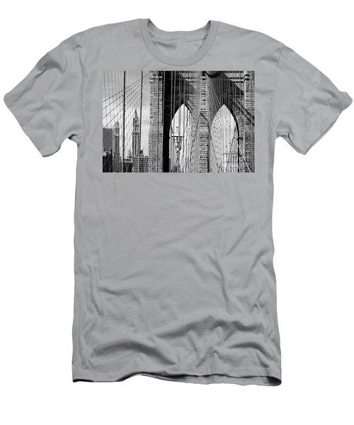 Brooklyn Bridge New York City Usa Men's T-Shirt (Slim Fit) by Sabine Jacobs