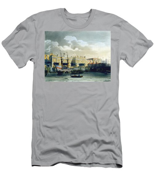 Custom House From The River Thames Men's T-Shirt (Slim Fit) by T. & Pugin, A.C. Rowlandson