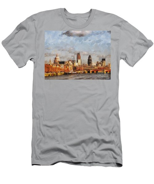 London Skyline From The River  Men's T-Shirt (Slim Fit) by Pixel Chimp