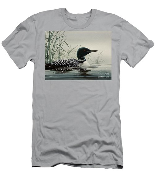 Loon Near The Shore Men's T-Shirt (Slim Fit) by James Williamson