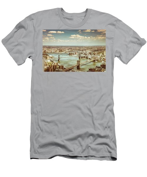 New York City - Brooklyn Bridge And Manhattan Bridge From Above Men's T-Shirt (Slim Fit) by Vivienne Gucwa