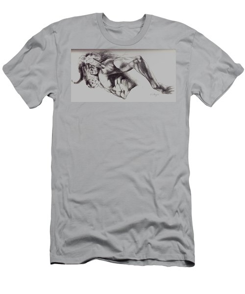 North American Minotaur Pencil Sketch Men's T-Shirt (Slim Fit) by Derrick Higgins
