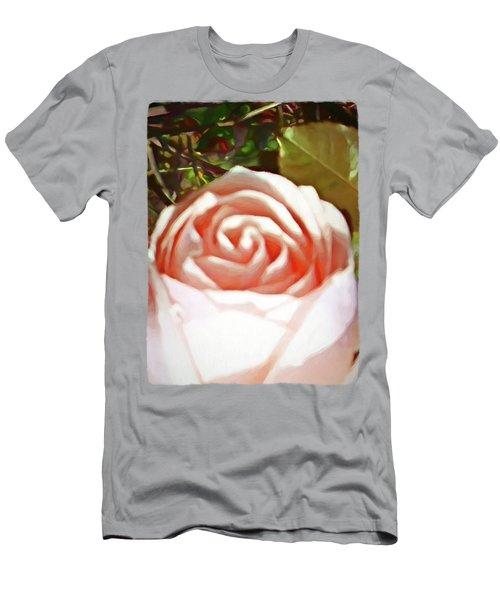 A Pale Pink Rosebud Men's T-Shirt (Slim Fit) by Jackie VanO