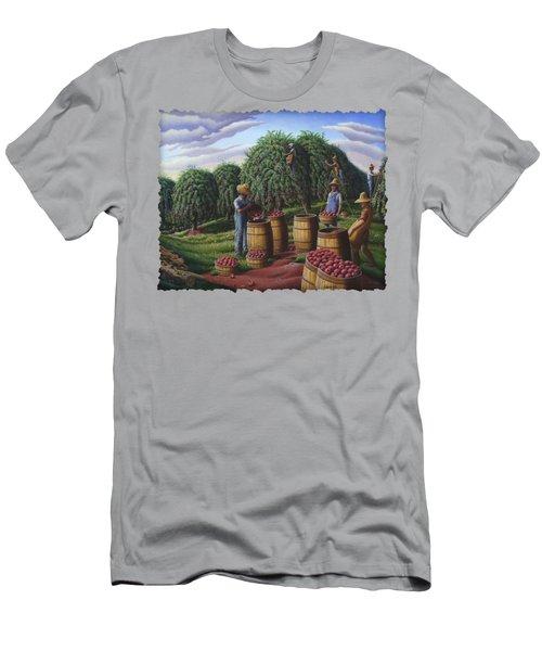 Apple Harvest - Autumn Farmers Orchard Farm Landscape - Folk Art Americana Men's T-Shirt (Slim Fit) by Walt Curlee